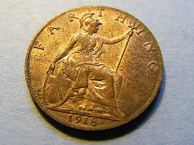 1918 George V Farthing Coin  - Much Lustre