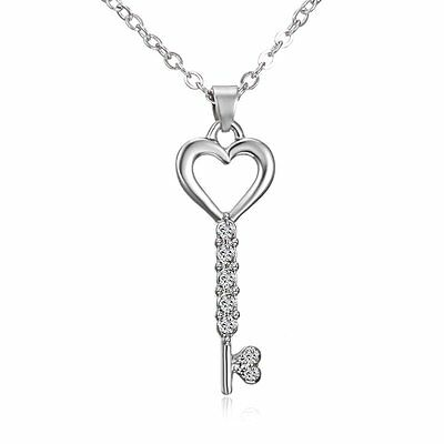 Charm Jewelry Crystal Rhinestone Love Heart Key Pendant Necklace Mother's Gift
