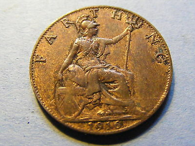 1916 George V Farthing Coin  - Much Lustre
