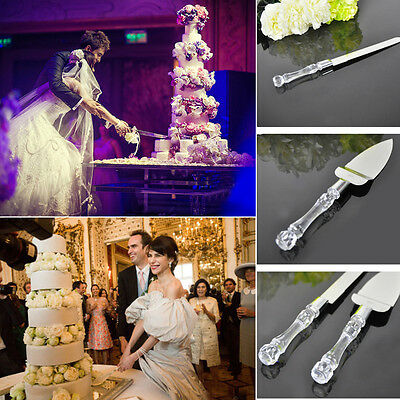 Stainless Steel Wedding Party Cake Knife Server Set Acrylic Faux Crystal Handle