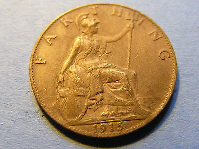 1915 George V Farthing Coin  - Much Lustre