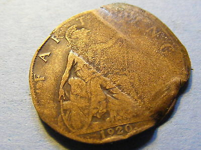 1920 George V Farthing Coin  - Flattened could be a minting error