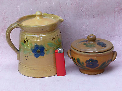 Alsace Ancien Lot Pots Poterie Art Populaire Gres French Pottery
