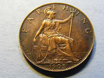 1905 Edward VII Farthing Coin  - Nice Condition