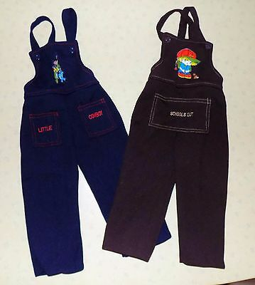 2 x VINTAGE 1970s UNWORN CHILDREN'S  ASSORTED NOVELTY DUNGAREES AGE 18-24 MONTHS