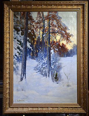 Antique 20C Polish-Russian oil Painting On canvas : Winter Dusk in Snowy Forest