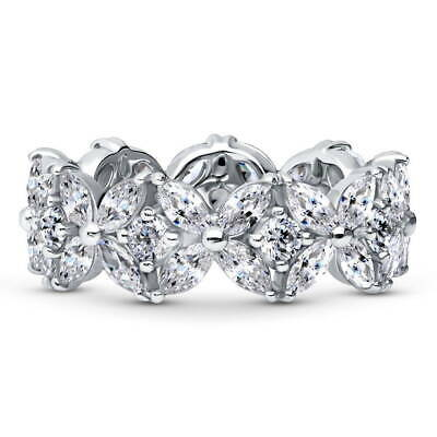 BERRICLE Sterling Silver CZ Flower Anniversary Wedding Eternity Band Ring