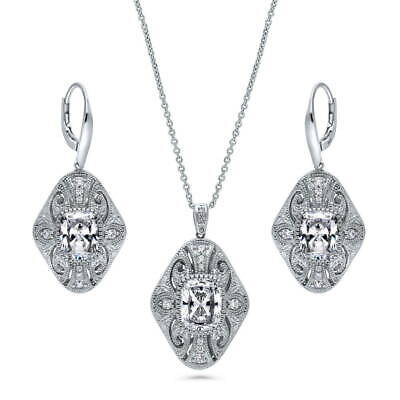 BERRICLE Sterling Silver CZ Art Deco Filigree Milgrain Necklace and Earrings Set
