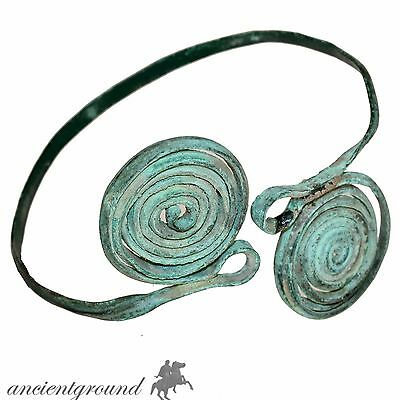 Very Rare Bronze Age Ancient Greek Spiral Bronze Bracelet 2500-1500 Bc