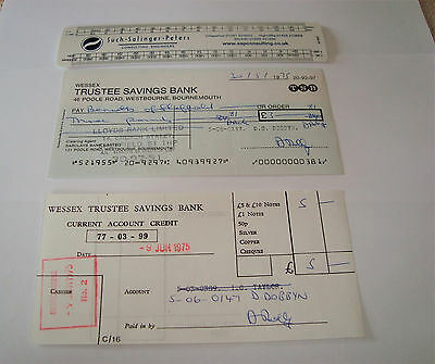Bank cheque Wessex Trustee Savings Bank small TSB Bennetts Sheffield.Credit slip