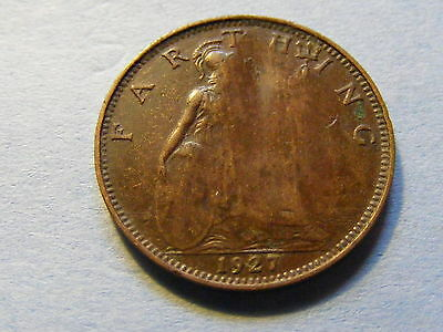 1927 George V Farthing Coin  - Some of Britannia missing possible error