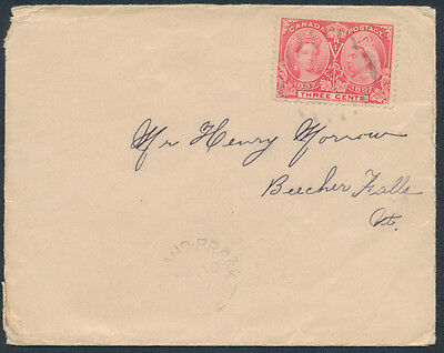 1897 Island-Brook Que to USA, #53 3c Victoria Jubilee
