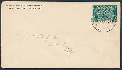 1897 Toronto Local Carrier Rate Cover, #52 2c Victoria Jubilee