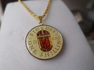 Vintage Enamelled One Shilling Coin 1963 Pendant & Necklace. Great Birthday Gift