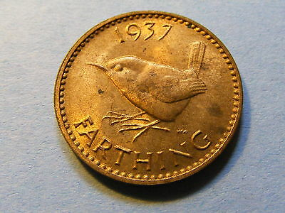 1937 George VI Farthing Coin  - Much Luster -