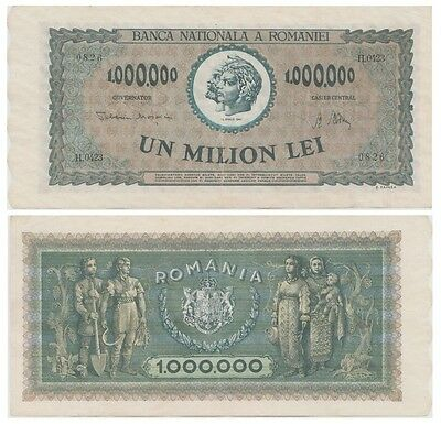 One Million Lei Romanian bancnote issued in 16.04.1947 H xf