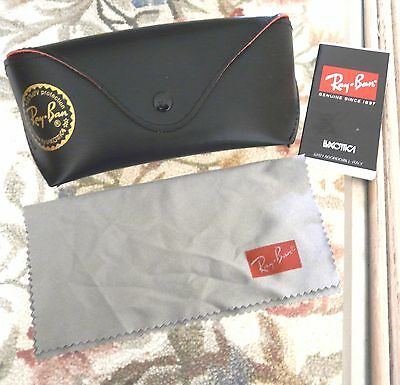 RAY BAN BY LUXOTICA EYEWEAR SUNGLASSES CASE Snap Closure w/cleaning cloth