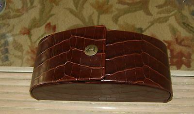 Tommy Bahama Brown Faux Crocodile Pattern Leather Sunglasses Eyewear Case