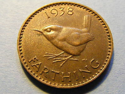 1938 George VI Farthing Coin  - some Luster -