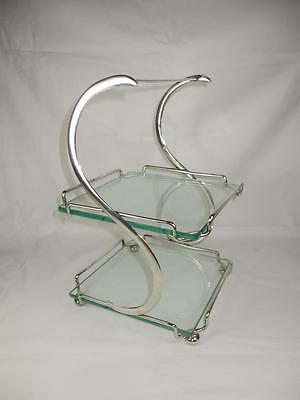 Stylish 1920's Art Deco Silver Plate  & Glass 2 Tier Cake / Sandwich Stand