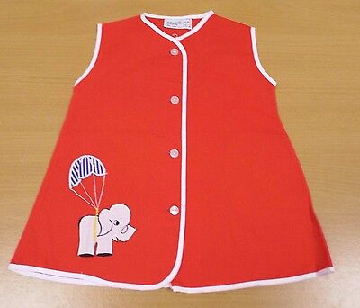 VINTAGE 1970's UNWORN KIDS RED ELEPHANT APPLIQUE PLAYSMOCK APRON AGE 1-2 YEARS