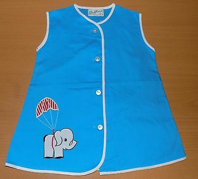 VINTAGE 1970's UNWORN TURQUOISE ELEPHANT APPLIQUE PLAYSMOCK APRON AGE 1-2 YEARS