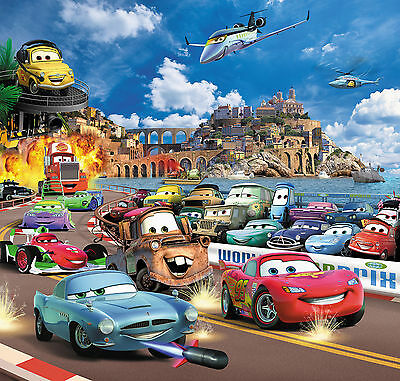 CARS 2 Kinder Fototapete  210 x 200 Tapete Zimmer  McQueen Kindertapete Autos