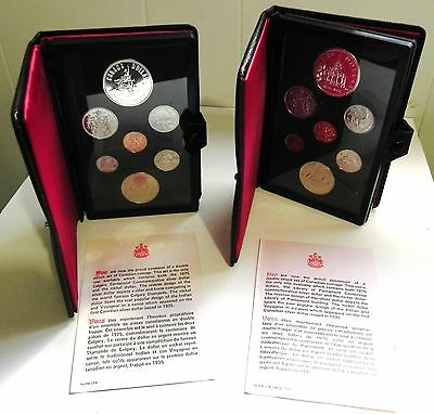1975 1976 Royal Canadian Mint Double Dollar Prestige Coin Sets with Silver