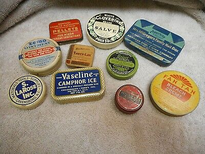 Lot Of 10 Antique Vintage Tins ---- Advertising Products --- Nice Variety--