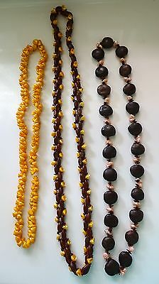 3 vintage Fancy Lei necklace iridescent trochus snail shell nut seed
