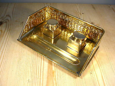 Antique Brass Two Ink Well Stand