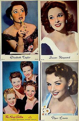 1950s GLAMOUR & BEAUTY POSTCARDS LOT x 4 ~ FILM STARS: LIZ TAYLOR, PIPER LAURIE+