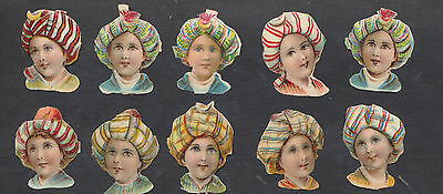 S2701 Victorian Die Cut Scraps: 10 Boys in Turbans