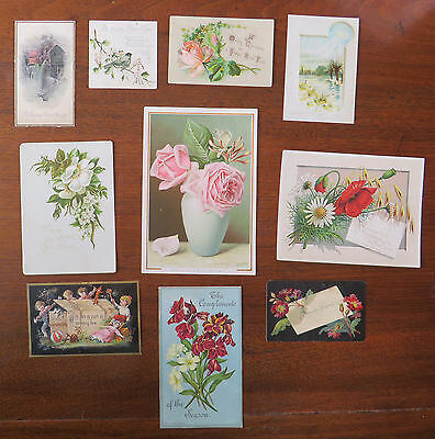 C2830 10 Victorian Greetings Cards: Mixed Subjects