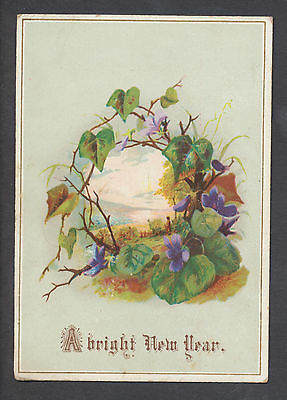 C3315 Victorian New Year Card: Violets & Scene