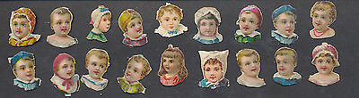 S3101 Victorian Die Cut Scraps: 18 Small Child Portraits