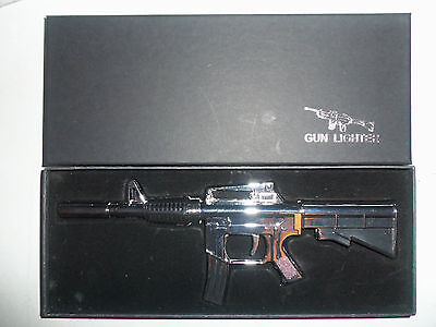 NEW AR-15 Rifle Gun Refillable Butane Grill & BBQ Windproof Lighter Torch SILVER