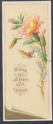 C3206 Good Victorian Embossed Xmas Card: Flower & Butterfly