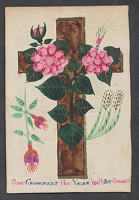 C3208 Victorian Religious Hand Painted Greetings Card: Cross & Flowers