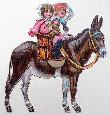 "c1890 VICTORIAN DIE-CUT ALBUM SCRAP ~ TWO GIRLS on SEASIDE DONKEY ~  4.5"" X 4.5"""