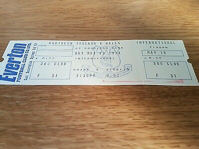 1973 Northern Ireland v Wales  ticket  played at Goodison