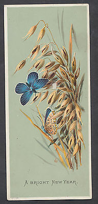 C3413 Victorian New Year Card: Butterflies, Emily Whymper