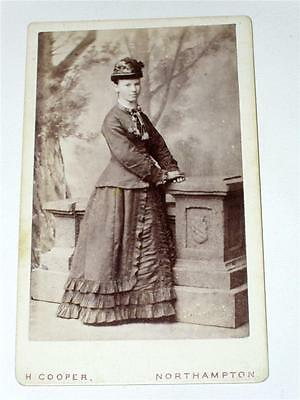 LADY IN STRIKING HOOPED DRESS WITH HAT, VICTORIAN FASHION CDV Cooper Northampton
