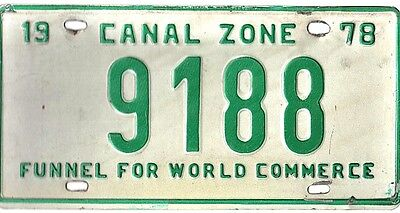 "LICENSE PLATE Panama CANAL ZONE 1978 Used ""9188"" 4 Digits Only CZ ZONE Ppd/USA"