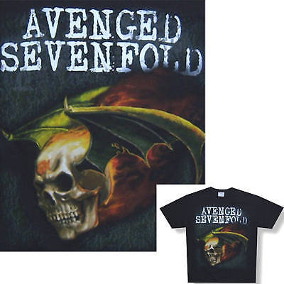 Avenged Sevenfold! Flaming Death Bat Black T-Shirt Yl