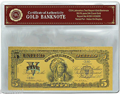 Colourised $5 Gold Certificate 1899 24k Gold Plated Banknote with COA (n36c) NEW