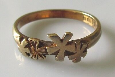 Vintage Abstract 9ct Gold Ring Size L.