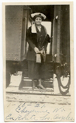 Small photo,African American Woman on Train Dated 1921