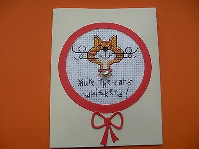 Hand Made Completed Cross Stitch Cards Cat