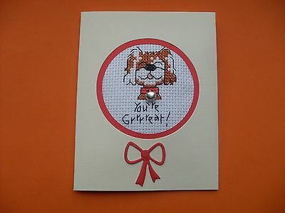 Hand Made Completed Cross Stitch Cards Dog